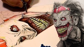Patreon: https://www.patreon.com/myawhoSorry, it kinda skips around a lot. my camera kept dying on me. The song is called Joker. I made that too. The colors are watercolor and everything else is graphite. OH, and some white gouache here and there.UPDATEThe reference I had was of Midge Ordonez's and Lee Joyner's amazing makeup work!  here is a link to the cosplayer in action:  https://www.youtube.com/watch?v=T7iPbZyryngThe work was done for the Cinema Makeup School.