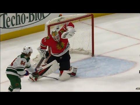 Video: Wild's Brodin's shot changes direction, fools Blackhawks' Forsberg