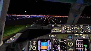 X-Plane 10 - Timelapse Night Approach @ JFK B747 Virgin Atlantic