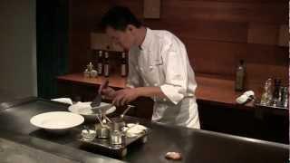 Hong prepares signature dishes at Waku Ghin in Singapore