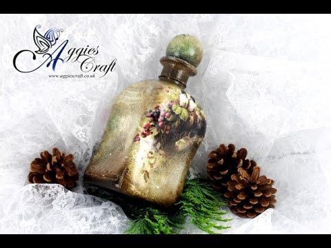 bottiglia vintage in decoupage