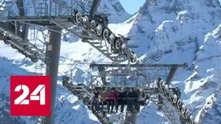 Российские горнолыжники штурмуют склоны Домбая.