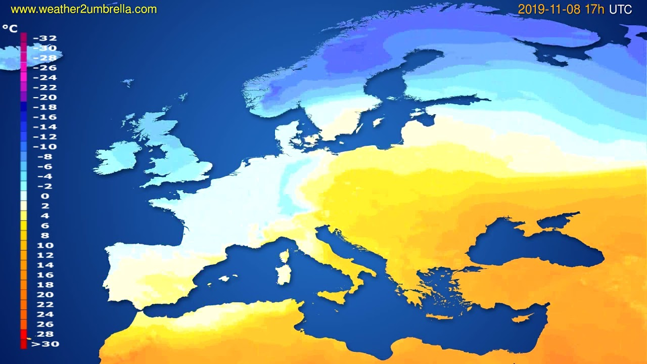 Temperature forecast Europe // modelrun: 00h UTC 2019-11-07