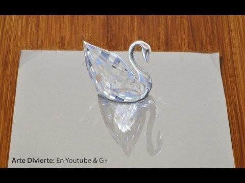 Cómo dibujar un cisne de cristal Swarovski - Sorprendente dibujo en 3D