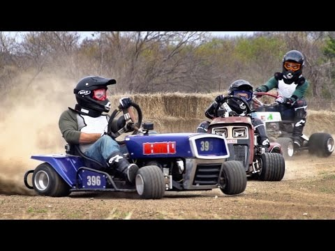 WATCH - Lawnmower racing battle!
