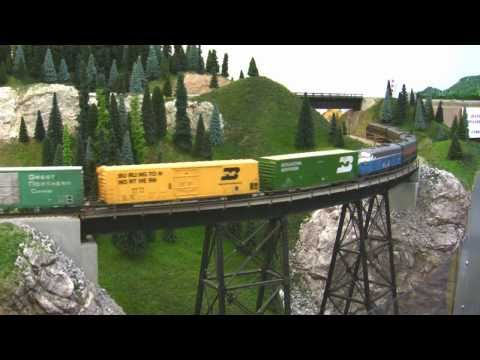 BN HO Scale Layout Model Railroad Train Video - HD JAN 2011