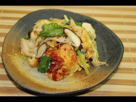 Real Japanese Dish: Tofu, Chicken, Egg, Mushrooms Cooked the Traditional Japanese Way