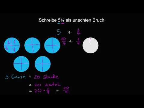 Gemischte Zahlen als unechte Brüche umschreiben (Video) | Khan Academy