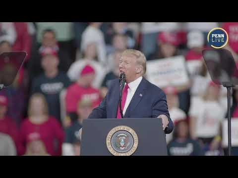 President Donald Trump speaks at his Hershey rally