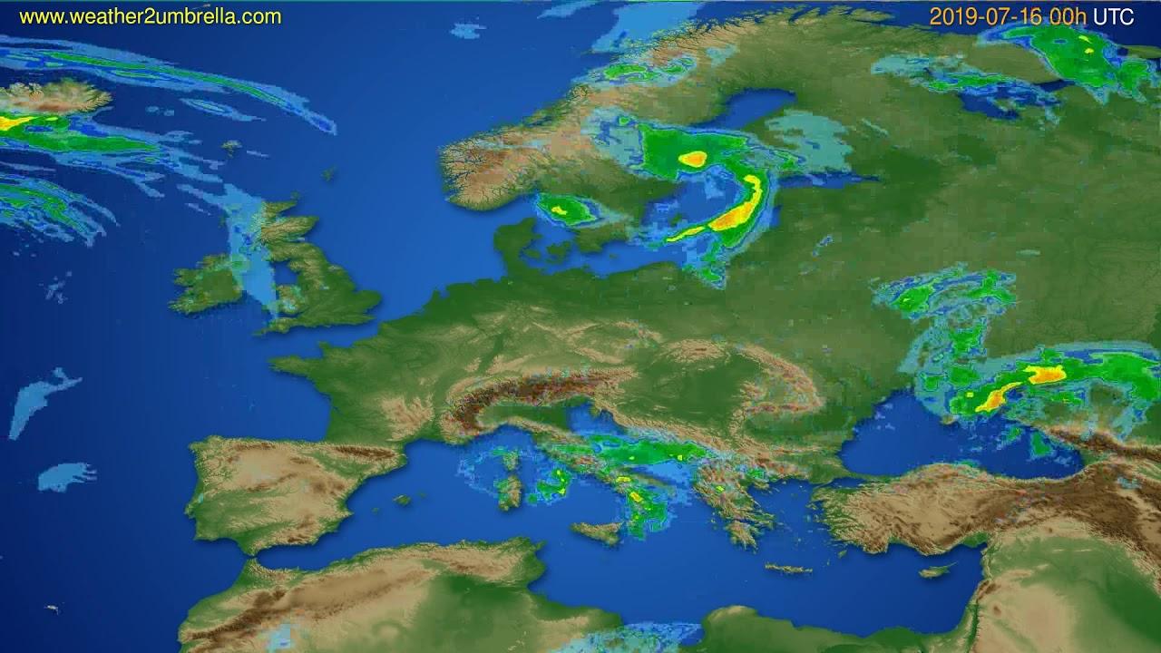 Radar forecast Europe // modelrun: 12h UTC 2019-07-15