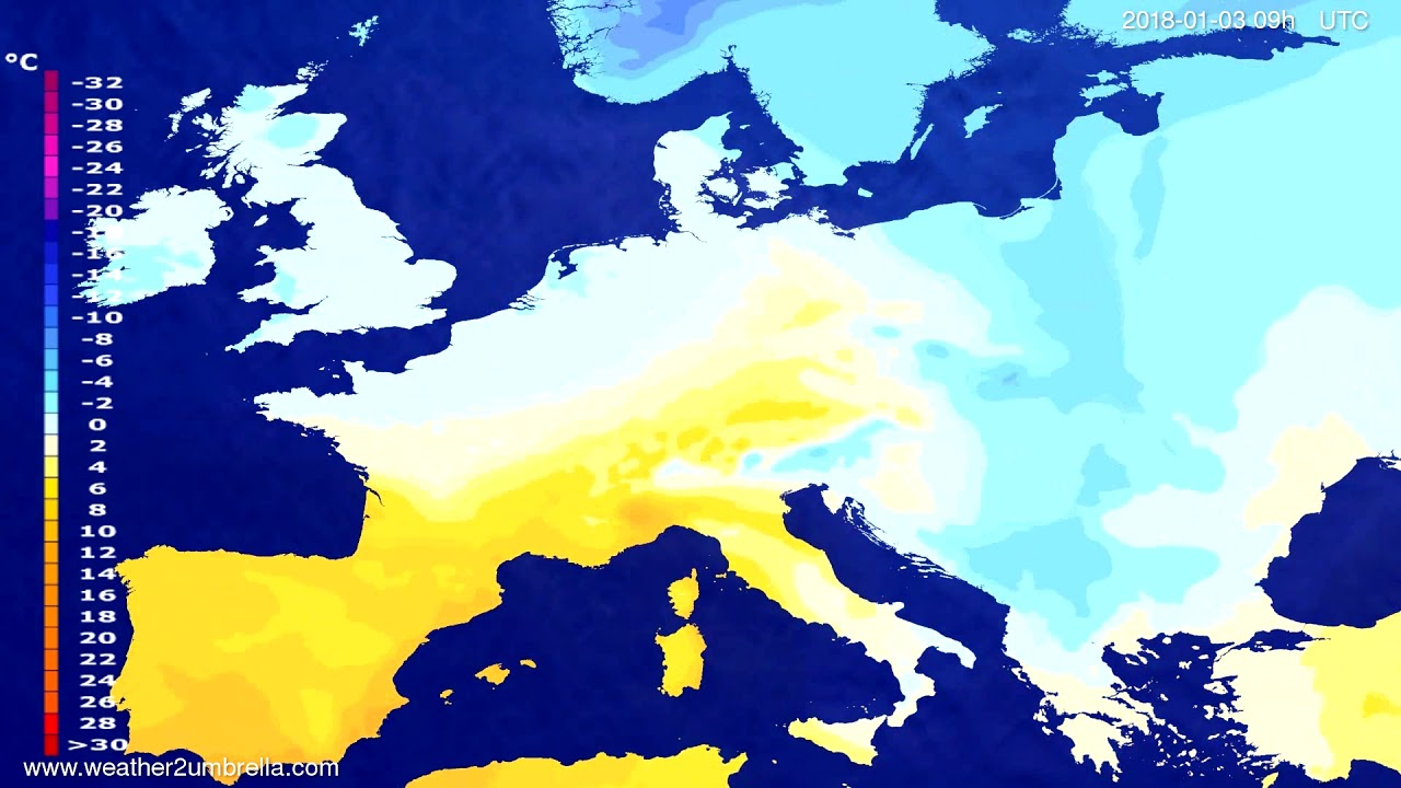 Temperature forecast Europe 2018-01-01