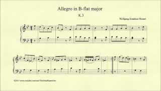 Download Lagu Mozart, Allegro in B-flat major, K 3, Piano Mp3