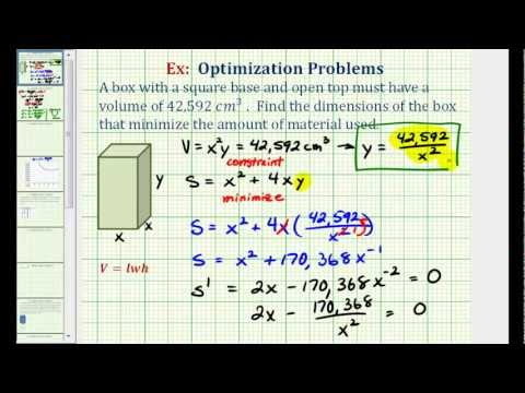 Search result youtube video exprism ex optimization minimize the surface area of a box with a given volume ccuart Choice Image