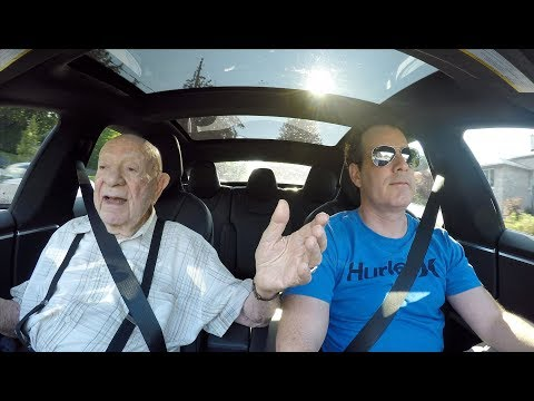 97-year old man rides in a Tesla for the first time.