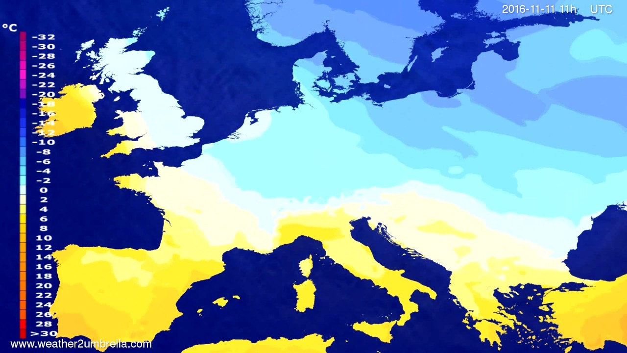 Temperature forecast Europe 2016-11-07