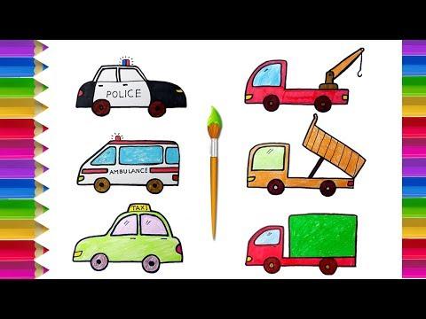 Vẽ Và Tô Màu Các Loại  Xe Ô Tô | Xe Cảnh Sát, Xe Cứu Thương, Xe Taxi, Xe Tải, Xe Cần Cẩu