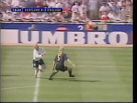 96 - Immediately Following David Seaman's Penalty Save from Gary McAllister, Paul Gascoigne Scores a Great Goal for England Against Scotland at Wembley During Eur...