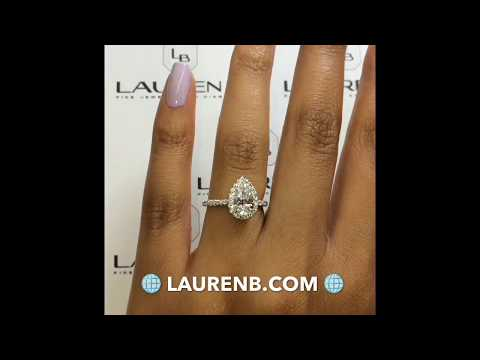 1.20 ct Pear Diamond Halo Engagement Ring