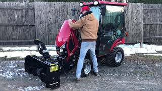 """4. Mahindra Emax 20s HST Cab Tractor w/ 48"""" Front Snowblower"""