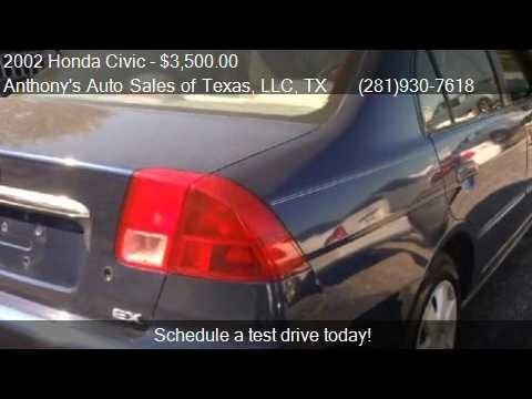 2002 honda civic ex sedan - Anthony's Auto Sales of Texas, LLC 9418 Spencer Hwy in La Porte, TX 77571 Come test drive this 2002 Honda Civic EX sedan for sale in La Porte, TX. http://ant...