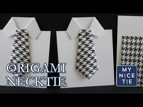 How to Fold an Origami Necktie Greeting Card (with origami shirt)