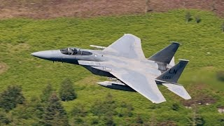 "4 mighty USAF F15c Eagles, of the 48th Fighter wing,  based at RAF Lakenheath, UK drop by our location for some Low level training in part of the world famous ""Mach loop"" North Wales. Its always an amazing sight to behold these majestic jets at low altitude.   This vid was taken from a video camera mounted on top of my DSLR lens."