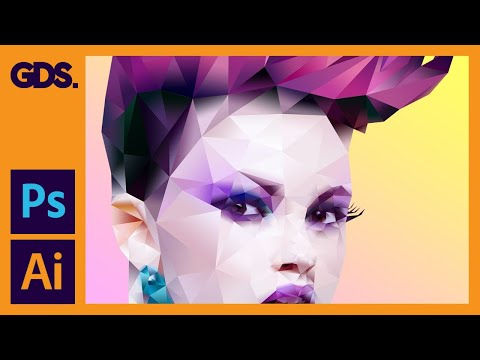 Polygonal portrait | Gradient effect in Adobe Photoshop with Illustrator