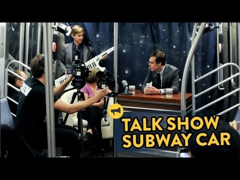 Talk Show - We converted a New York City subway car into a late night talk show with a full set. Full story: http://improveverywhere.com/2013/05/20/talk-show-subway-car/...