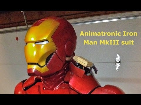 Animatronic - Animatronic Iron Man suit with wireless helmet, shoulder rockets, forearm missile, hip pods, light up boots and moving back flaps. The suit has four Arduino ...