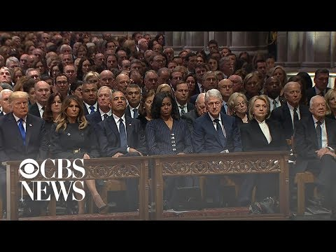 President Trump and first lady Melania Trump arrive at George H.W. Bush's funeral