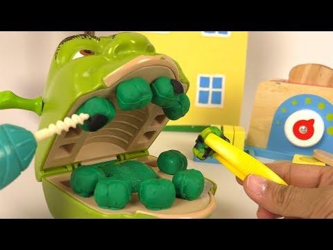 Shrek Chez le Dentiste Carries Soins Dentaires avec Madame Récré (видео)