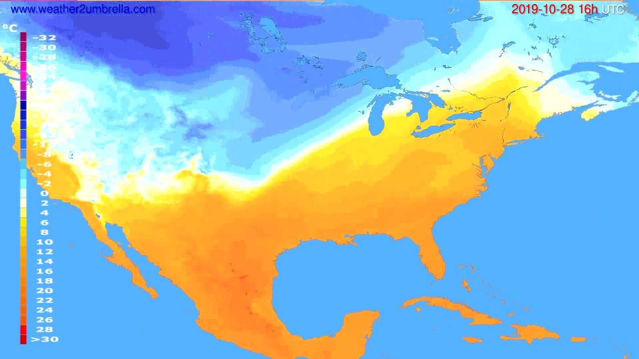 Temperature forecast USA & Canada // modelrun: 12h UTC 2019-10-27