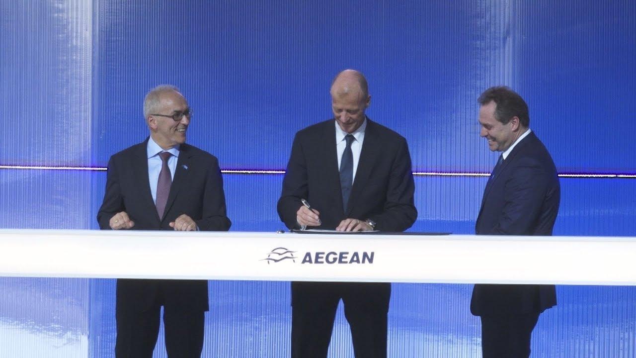 Yπογραφή της παραγγελίας των αεροσκαφών Airbus απο την Aegean