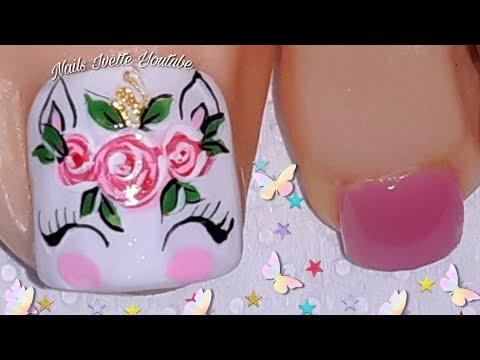 Decoración de uñas PIES UNICORNIO/Uñas decoradas con unicornio/diseño para pies