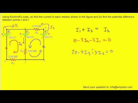 Using kirchhoff's rules find the current in each resistor shown in figure