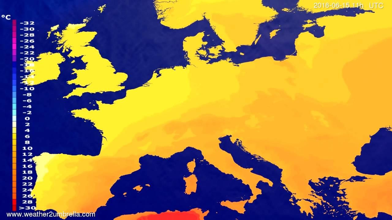 Temperature forecast Europe 2016-06-11