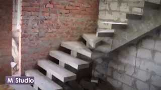 Монолитная лестница на косоуре