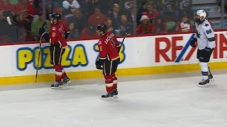 Tkachuk steals Burns' stick, refuses to give it back