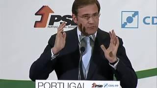 PSD e CDS-PP apresentaram as linhas gerais do programa eleitoral da coligação para as eleições legislativas. Pedro Passos Coelho e Paulo Portas comprometem-s...