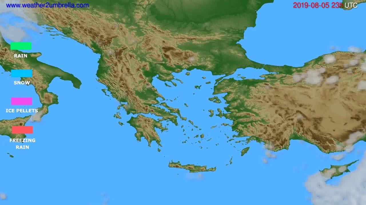 Precipitation forecast Greece // modelrun: 12h UTC 2019-08-02