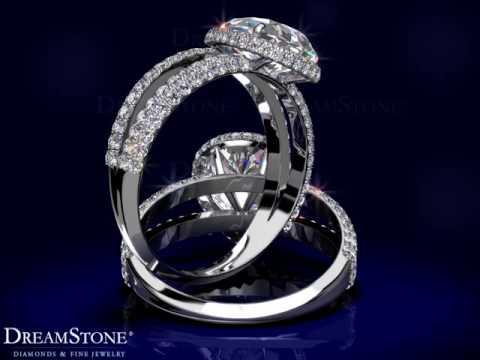 Pave-Set Halo Diamond Engagement Ring Setting