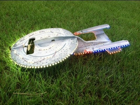 RC - This is the original Star Ship Enterprise with 351 LED lights flying at night. Much work was put into getting this model ready for flight plus the 351 LED li...