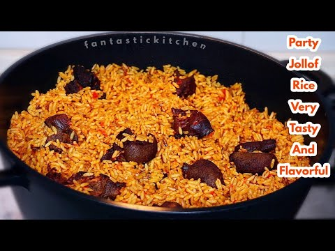 Very tasty and flavourful PARTY JOLLOF RICE with GOAT MEAT | A must try!