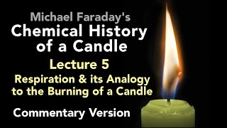 "Bill Hammack & Don DeCoste highlight the key points of Lecture Five of Michael Faraday's lectures on The Chemical History of a Candle. A free companion book helps modern viewers understand each lecture — details at http://www.engineerguy.com — as does this commentary track and closed captions for each lecture.►Free Companion book to this video series http://www.engineerguy.com/faradayText of Every Lecture  Essential Background  Guides to Every Lecture  Teaching Guide & Student ActivitiesIn these lectures Michael Faraday's careful examination of a burning candle reveals the fundamental concepts of chemistry, while at the same time superbly demonstrating the scientific method. In this lecture Faraday continues his investigation of the properties of carbon dioxide and then draws an analogy between the burning of a candle and mammalian respiration.LINKS TO OTHER VIDEOS IN THIS SERIES► Lectures(1/6) Introduction to Michael Faraday's Chemical History of a Candlehttps://www.youtube.com/watch?v=RrHnLXMTOWM(2/6) Lecture One: A Candle: Sources of its Flamehttps://www.youtube.com/watch?v=6W0MHZ4jb4A(3/6) Lecture Two: Brightness of the Flamehttps://www.youtube.com/watch?v=B8vSLgaW9WQ(4/6) Lecture Three: Products of Combustionhttps://www.youtube.com/watch?v=31pLJyReFXw(5/6) Lecture Four: The Nature of the Atmospherehttps://www.youtube.com/watch?v=v1DWHeouJYM(6/6) Lecture Five: Respiration & its Analogy to the Burning of a Candlehttps://www.youtube.com/watch?v=Fb4RoPEtwso► Bonus Videos: Lectures with CommentaryLecture One: A Candle: Sources of its Flame (Commentary version)https://www.youtube.com/watch?v=ce0g0e9NmgQLecture Two: Brightness of the Flame (Commentary version)https://www.youtube.com/watch?v=grWNnVB9B-4Lecture Three: Products of Combustion (Commentary version)https://www.youtube.com/watch?v=0s8anLurWp0Lecture Four: The Nature of the Atmosphere (Commentary version)https://www.youtube.com/watch?v=WLgxPKU-JsILecture Five: Respiration & its Analogy to the Burning of a Candle (Commentary version)https://www.youtube.com/watch?v=tCmZfnT6_M4►Subscribe now!  https://www.youtube.com/subscription_center?add_user=engineerguyvideo►Become an advanced viewer of Engineer Guy videos - help evaluate early draftshttp://www.engineerguy.com/previewCOMPANION BOOK DETAILSThe companion book is available as an ebook, in paperback and hardcover — and for free as a PDF. Details on all versions are at http://www.engineerguy.com/faradayMichael Faraday's The Chemical History of a Candlewith Guides to the Lectures, Teaching Guides & Student ActivitiesBill Hammack & Don DeCoste190 pages  5 x 8  14 illustrationsHardcover (Casebound)  ISBN 978-0-9838661-8-0  $24.95Paper ISBN 978-1-945441-00-4 $11.99eBook  ISBN 978-0-9839661-9-7  $3.99Audience: 01 — General TradeSubjectsSCI013000   SCIENCE / Chemistry / GeneralSCI028000   SCIENCE / Experiments & ProjectsSCI000000   SCIENCE / GeneralEDU029030  EDUCATION / Teaching Methods & Materials / Science & TechnologyThis book introduces modern readers to Michael Faraday's great nineteenth-century lectures on The Chemical History of a Candle. This companion to the YouTube series contains supplemental material to help readers appreciate Faraday's key insight that ""there is no more open door by which you can enter into the study of science than by considering the physical phenomena of a candle."" Through a careful examination of a burning candle,  Faraday's lectures introduce readers to the concepts of mass, density, heat conduction, capillary action, and convection currents. They demonstrate the difference between chemical and physical processes, such as melting, vaporization, incandescence, and all types of combustion. And the lectures reveal the properties of hydrogen, oxygen, nitrogen, and carbon dioxide, including their relative masses and the makeup of the atmosphere. The lectures wrap up with a grand, and startling, analogy: by understanding the chemical behavior of a candle the reader can grasp the basics of respiration. To help readers understand Faraday's key points this book has an ""Essential Background"" section that explains in modern terms how a candle works, introductory guides for each lecture written in contemporary language, and seven student activities with teaching guides.Author BiosBill Hammack is a Professor of Chemical & Biomolecular Engineering at the University of Illinois—Urbana, where he focuses on educating the public about engineering and science. He is the creator and host of the popular YouTube channel engineerguyvideo. Don DeCoste is a Specialist in Education in the Department of Chemistry at the University of Illinois—Urbana, where he teaches freshmen and pre-service high school chemistry teachers. He is the co-author of four chemistry textbooks."