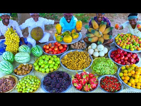 FRUIT SALAD | Colourful Healthy Fruits mixed salad recipe | Fruits Cutting and Eating in Village