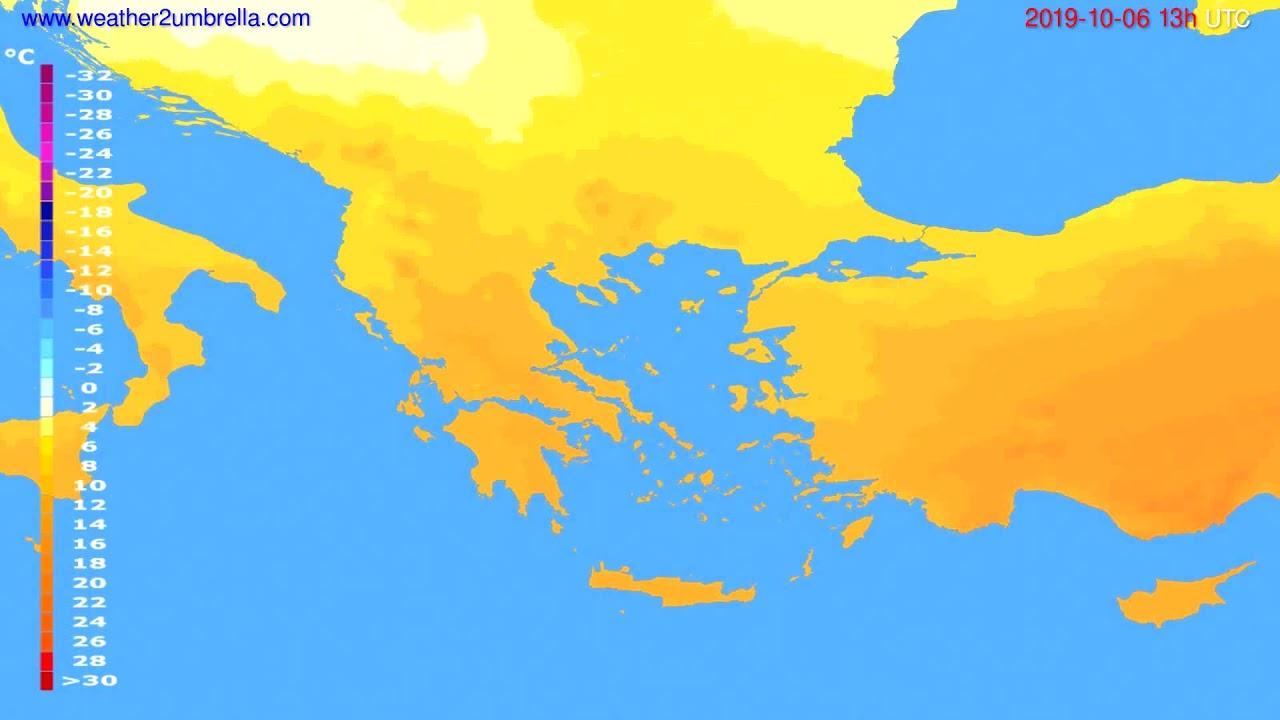 Temperature forecast Greece // modelrun: 12h UTC 2019-10-04