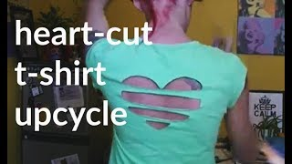 Cut Out Heart Back Tee DIY - Upcycle A Day for the Month of May :) Day 21 - YouTube