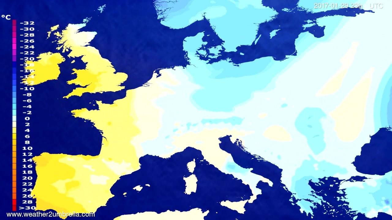 Temperature forecast Europe 2017-01-26
