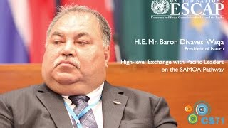 Following the High-level Exchange on the SAMOA pathway, President Waqa highlights the challenge of implementing the ...