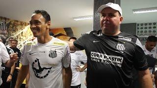 Confira imagens exclusivas do vestiário pós-título com depoimentos do técnico Marcelo Fernandes e dos atacantes Robinho e...